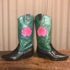 Nine West Leather Rose Cowboy Western boots 6.5